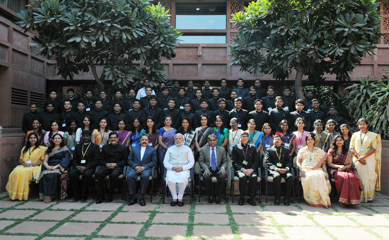 The Prime Minister, Shri Narendra Modi interacting with the IAS probationers of 2015 batch, at Parliament Library, in New Delhi on February 23, 2016.
