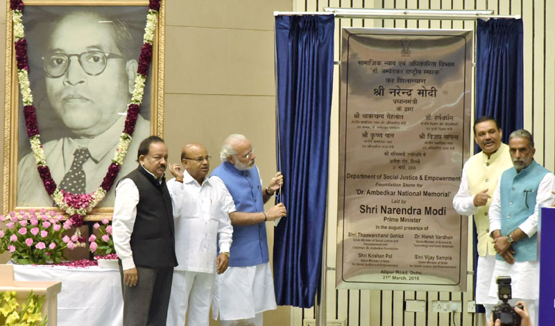 PM lays foundation stone for Dr. Ambedkar National Memorial