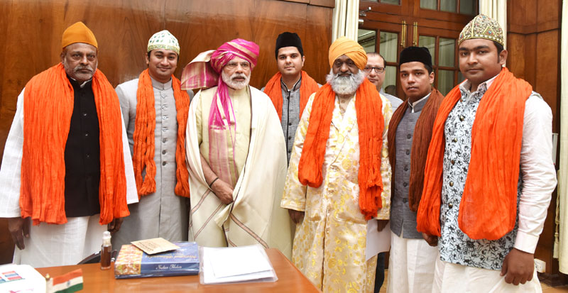 Sayed Fakhar Kazmi Chisty Gaddi Nashin of Ajmer Shariff along with a delegation calls on the Prime Minister, Shri Narendra Modi, in New Delhi on May 02, 2016.