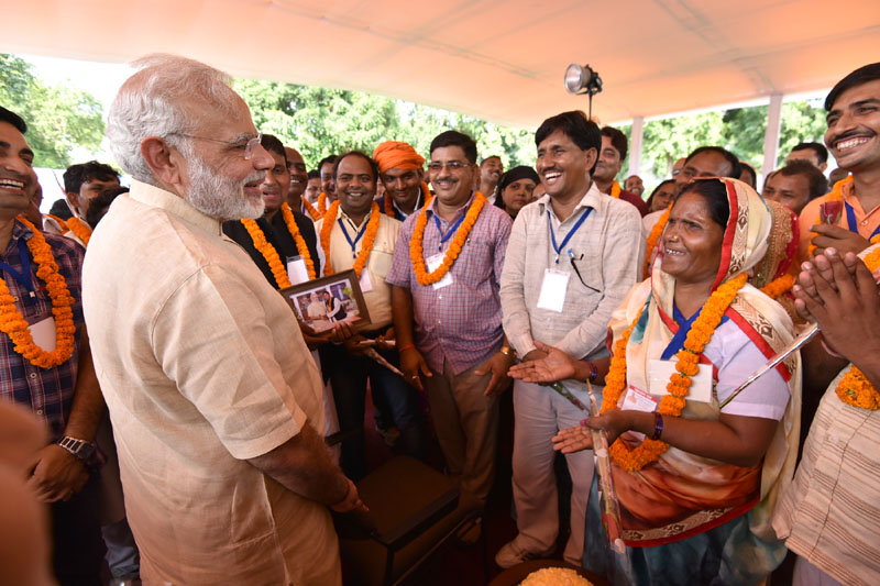 PM interacts with Village Pradhans from Varanasi Parliamentary Constituency