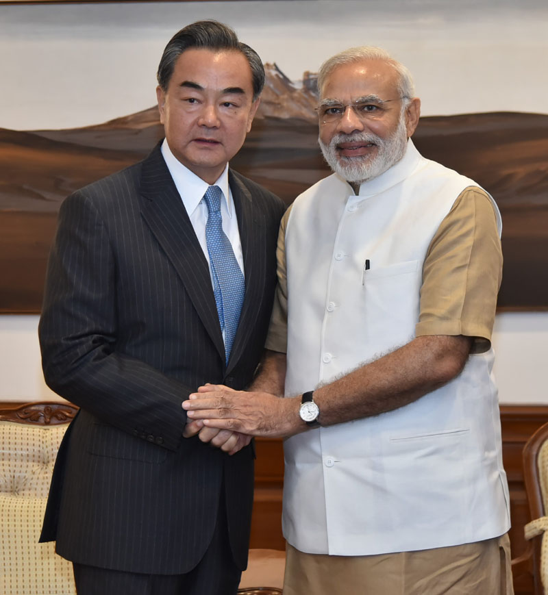 The Minister of Foreign Affairs of the People's Republic of China, Mr. Wang Yi calling on the Prime Minister, Shri Narendra Modi, in New Delhi on August 13, 2016.
