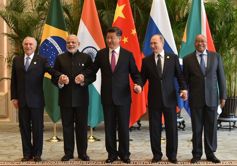 The Prime Minister, Shri Narendra Modi with the BRICS leaders, during G20 Summit, in Hangzhou, China on September 04, 2016.