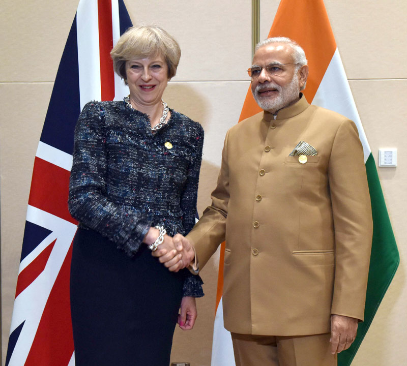 The Prime Minister, Shri Narendra Modi meeting the Prime Minister of United Kingdom (UK), Ms. Theresa May, on the sidelines of G20 Summit 2016, in Hangzhou, China on September 05, 2016.