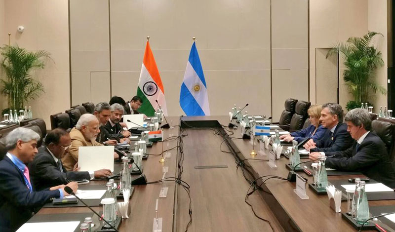The Prime Minister, Shri Narendra Modi meeting the President of Argentina, Mr. Mauricio Macri, on the sidelines of G20 Summit 2016, in Hangzhou, China on September 05, 2016.