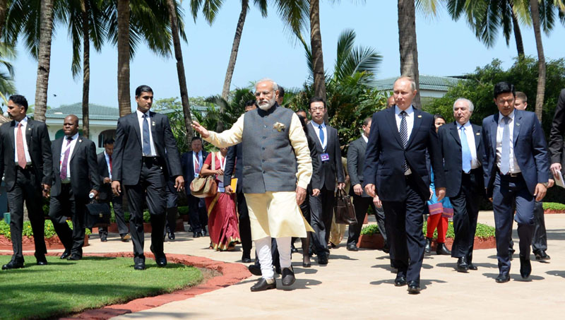 The Prime Minister, Shri Narendra Modi with the President of Russian Federation, Mr. Vladimir Putin and the President of the People's Republic of China, Mr. Xi Jinping, at the BRICS Summit-2016, in Goa on October 16, 2016.
