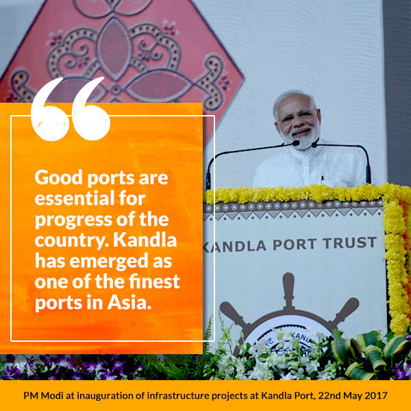 PM at inauguration of infrastructure projects at Kandla Port