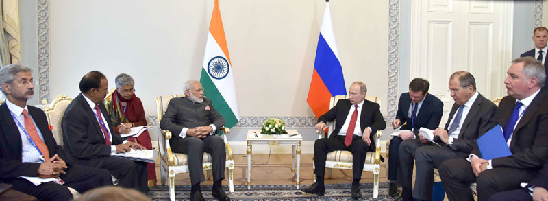 PM meets President Putin at the 18th Annual India Russia Summit, in St. Petersburg