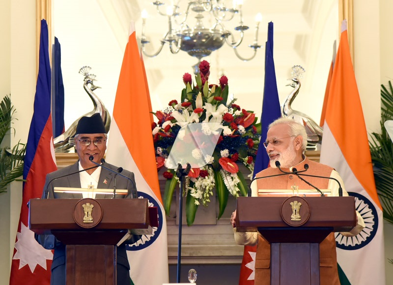 Press Statement by PM during visit of PM Deuba of Nepal