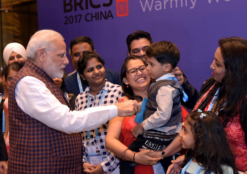 The Prime Minister, Shri Narendra Modi being welcomed by the Indian community, on his arrival, to attend the 9th BRICS2017, in Xiamen, China on September 03, 2017.