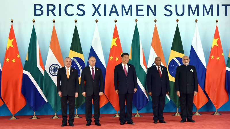 The Prime Minister, Shri Narendra Modi in the BRICS Family Photograph with other Leaders, at the 9th BRICS summit, in Xiamen, China on September 04, 2017.