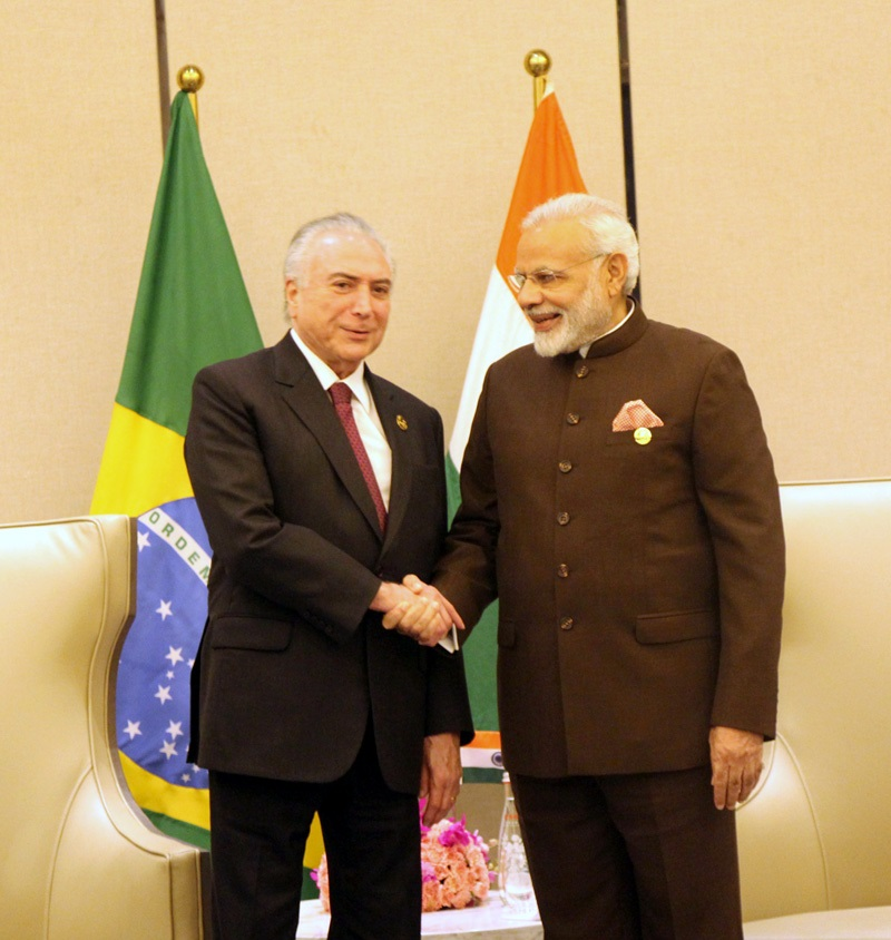 The Prime Minister, Shri Narendra Modi meeting the President of Brazil, Mr. Michel Temer, on the sidelines of the 9th BRICS Summit, in Xiamen, China on September 04, 2017.