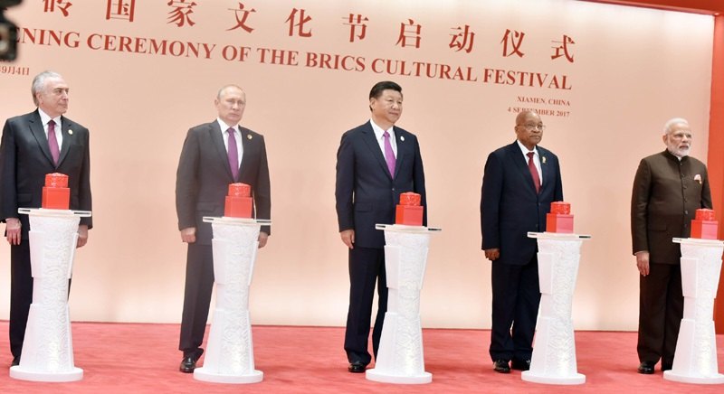 The Prime Minister, Shri Narendra Modi with the BRICS Leaders at the opening ceremony of the BRICS Cultural Festival & Cultural Exhibition, in Xiamen, China on September 04, 2017.