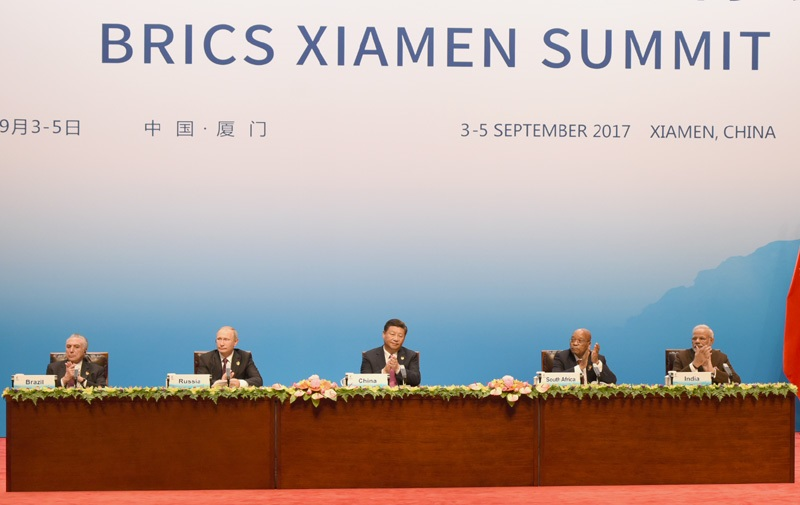 The Prime Minister, Shri Narendra Modi and other BRICS leaders dialogue with the BRICS Business Council, in Xiamen, China on September 04, 2017.