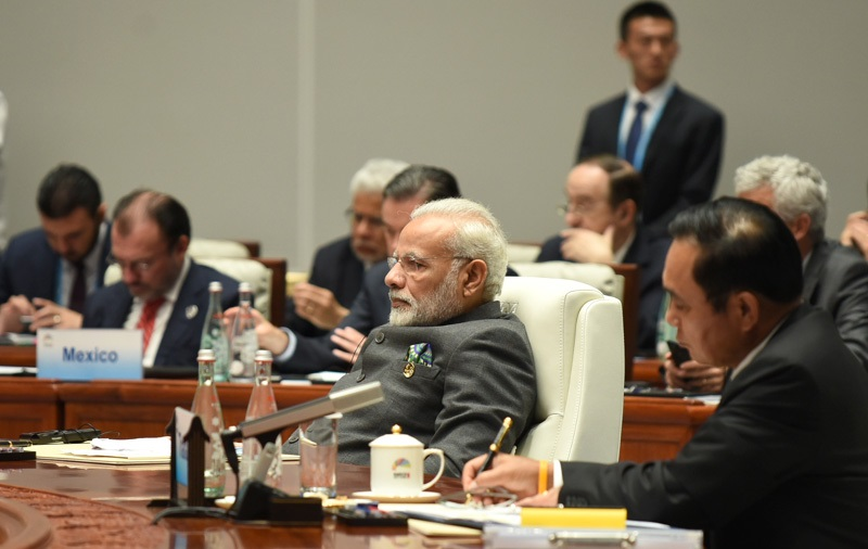 The Prime Minister, Shri Narendra Modi at the Dialogue of Emerging Markets and Developing Countries, during the 9th BRICS Summit, in Xiamen, China on September 05, 2017.