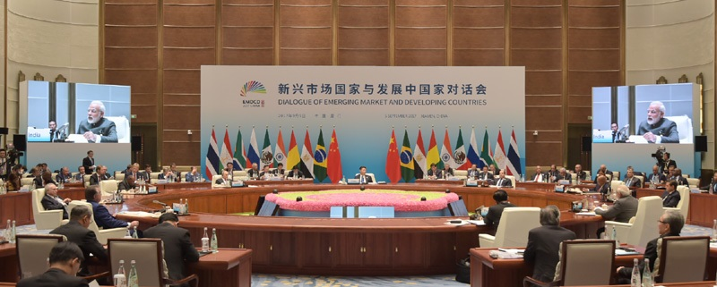 The Prime Minister, Shri Narendra Modi delivering his statement at the Dialogue of Emerging Markets and Developing Countries, during the 9th BRICS Summit, in Xiamen, China on September 05, 2017.