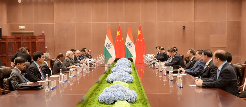 The Prime Minister, Shri Narendra Modi in bilateral meeting with the President of the People's Republic of China, Mr. Xi Jinping, on the sidelines of the 9th BRICS Summit, in Xiamen, China on September 05, 2017.