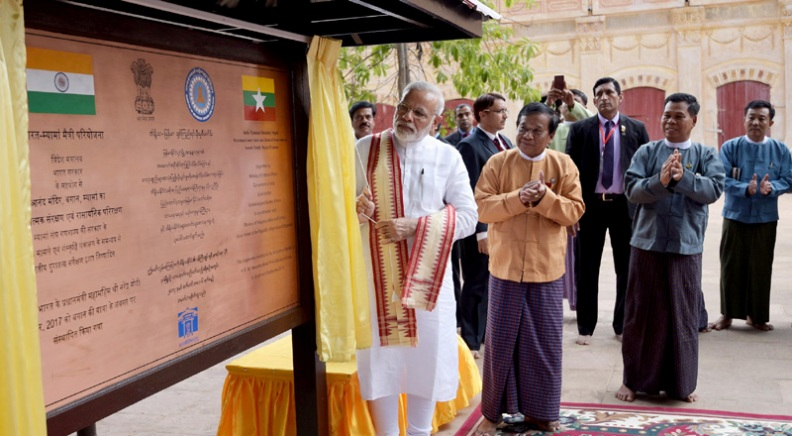 The Prime Minister, Shri Narendra Modi unveiling a plaque signifying the contribution of India, in the restoration of the Ananda Temple, in Bagan, Myanmar on September 06, 2017.