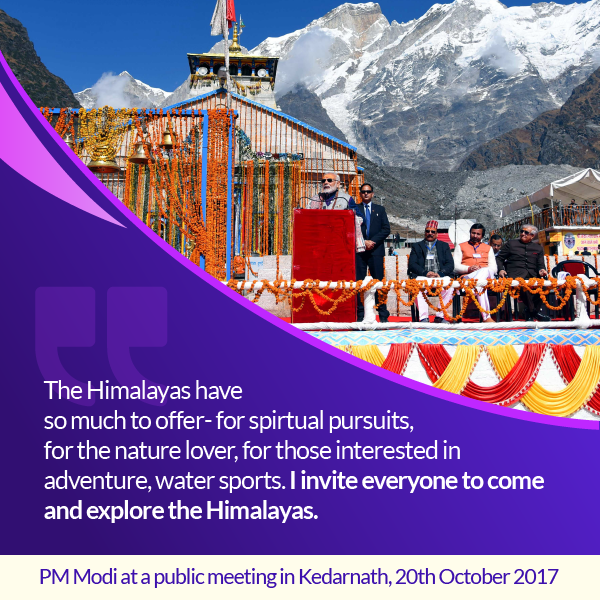 PM Modi at a public meeting in Kedarnath