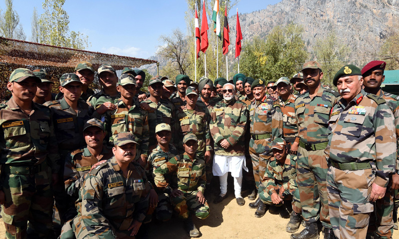 PM celebrates Diwali with jawans of Indian Army and BSF, in Gurez Valley