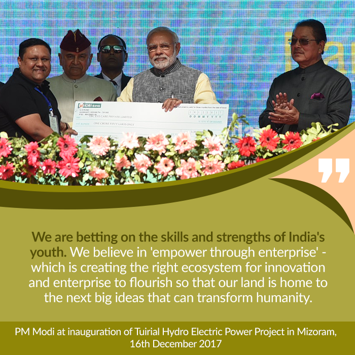 PM at inauguration of Tuirial Hydro Electric Power Project in Mizoram