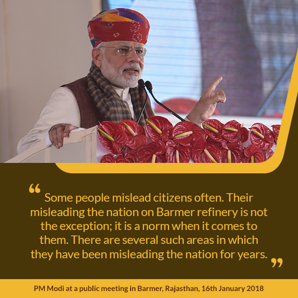 PM at a public meeting in Barmer, Rajasthan