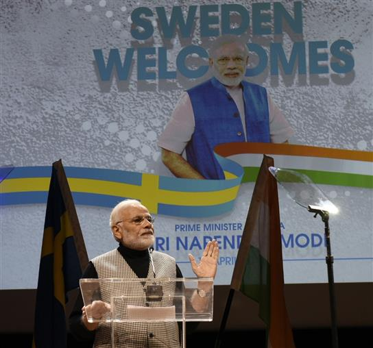 PM addresses Indian Community in Stockholm