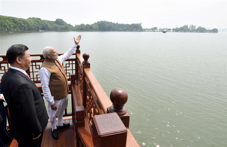 The Prime Minister, Shri Narendra Modi and the President of the People's Republic of China, Mr. Xi Jinping inside a house boat, in Wuhan's East Lake, China on April 28, 2018.