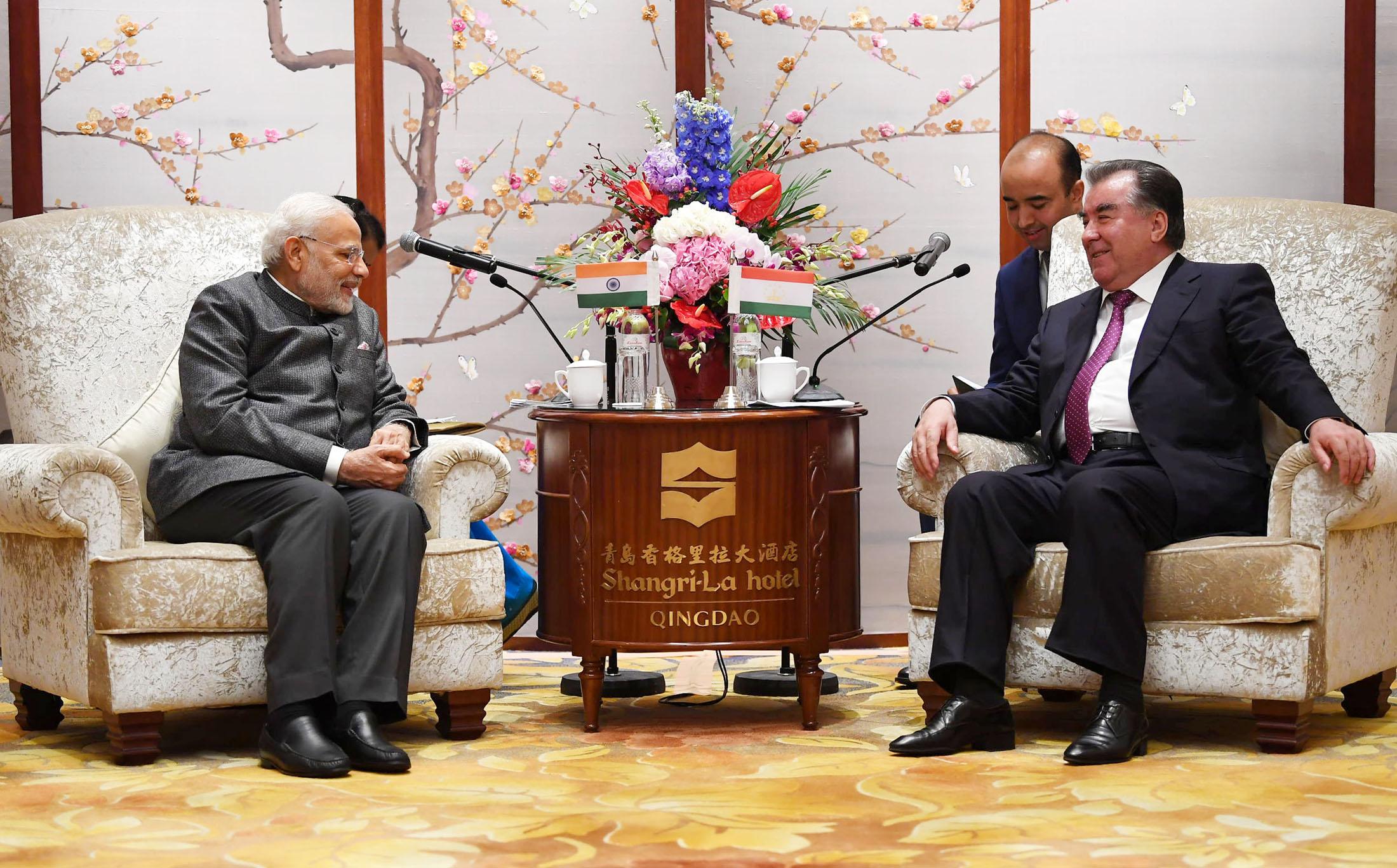 The Prime Minister, Shri Narendra Modi meeting the President of the Republic of Tajikistan, Mr. Emomali Rahmon, on the sidelines of the Shanghai Cooperation Organisation (SCO) Summit, in Qingdao, China on June 09, 2018.