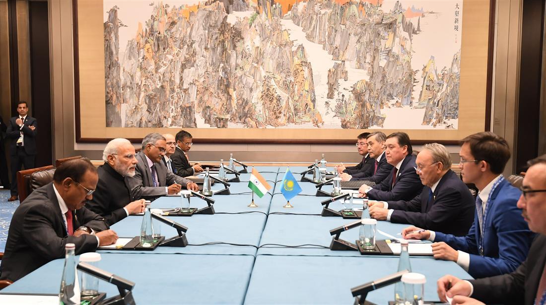 The Prime Minister, Shri Narendra Modi meeting the President of Kazakhstan, Mr. Nursultan Nazarbayev, on the sidelines of the Shanghai Cooperation Organisation (SCO) Summit, in Qingdao, China on June 10, 2018.