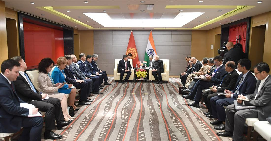 The Prime Minister, Shri Narendra Modi meeting the President of Kyrgyzstan, Mr. Sooronbay Jeenbekov, on the sidelines of the Shanghai Cooperation Organisation (SCO) Summit, in Qingdao, China on June 10, 2018.