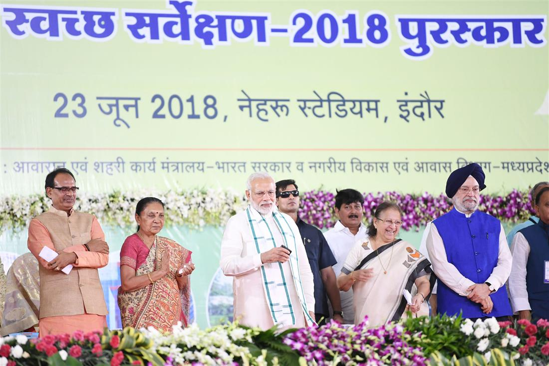 PM inaugurates urban development projects, gives away Swachh Survekshan Awards in Indore