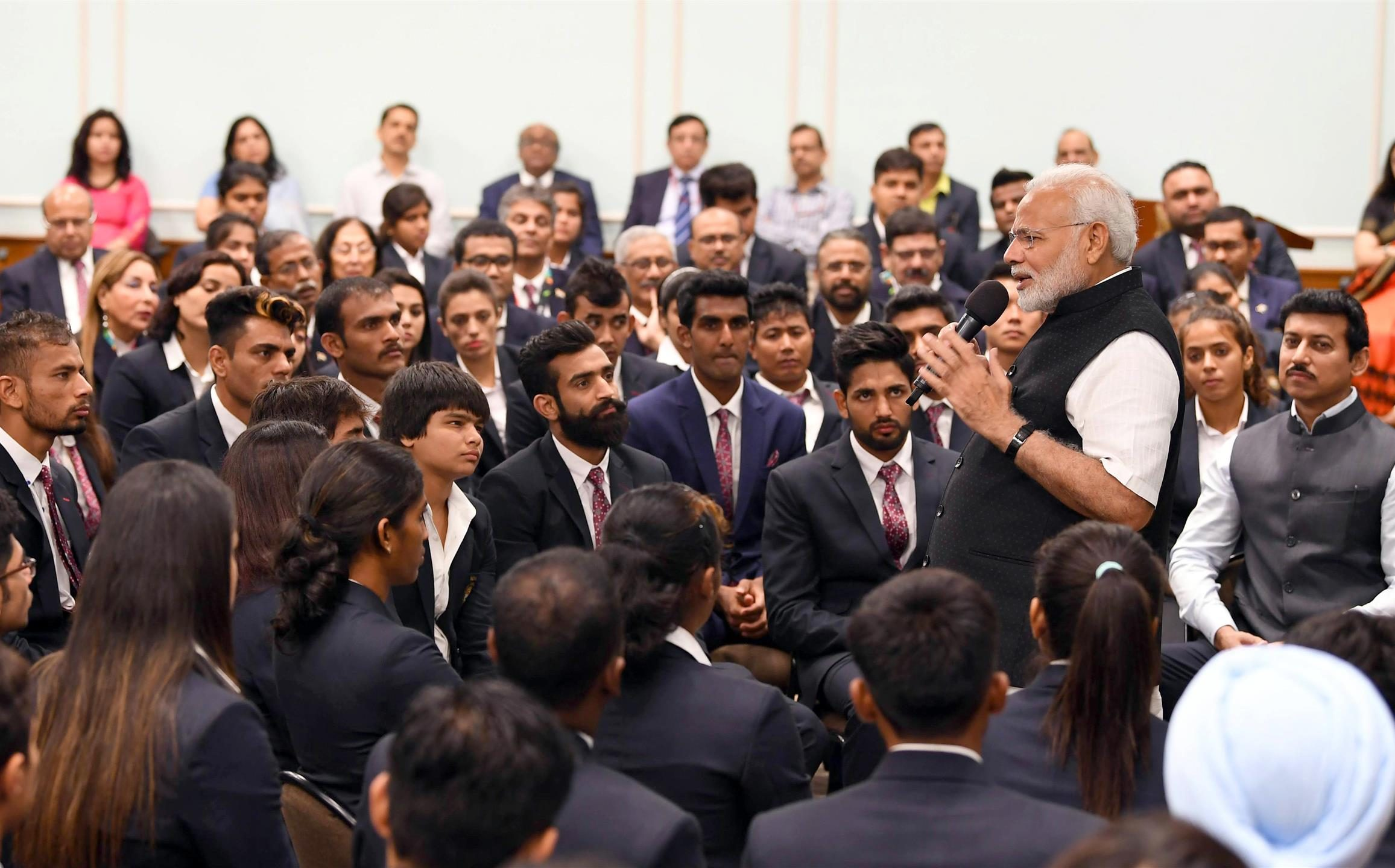 The Prime Minister, Shri Narendra Modi interacting with the Medal Winners of the Asian Games-2018, in New Delhi on September 05, 2018.