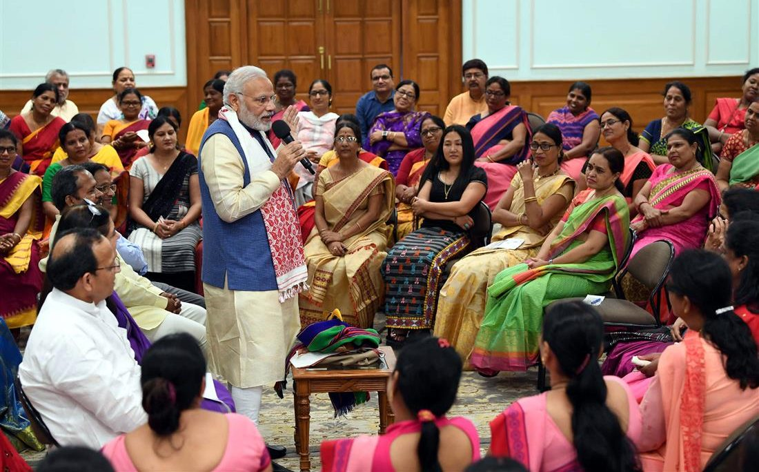 The Prime Minister, Shri Narendra Modi interacting with the Anganwadi workers from across the country, in New Delhi on September 19, 2018.