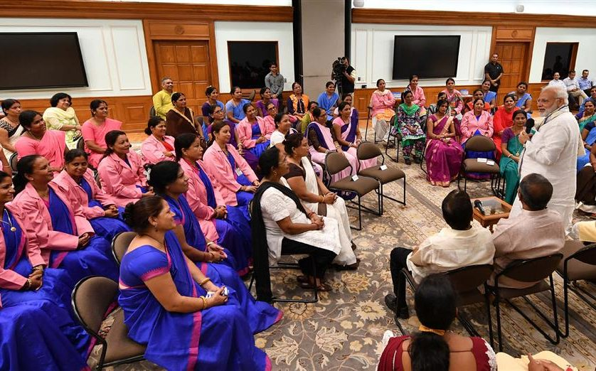 The Prime Minister, Shri Narendra Modi interacting with the ASHA representatives from across the country, in New Delhi on September 20, 2018.