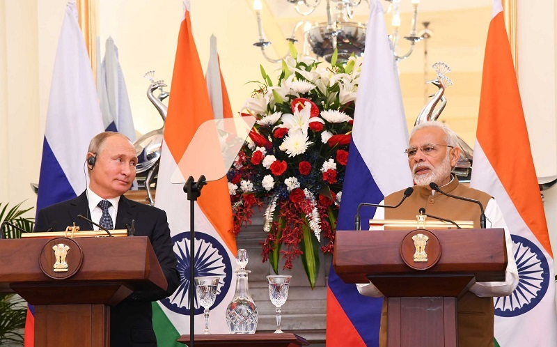 The Prime Minister, Shri Narendra Modi and the President of Russian Federation, Mr. Vladimir Putin at the Joint Press Statement, at Hyderabad House, in New Delhi on October 05, 2018.