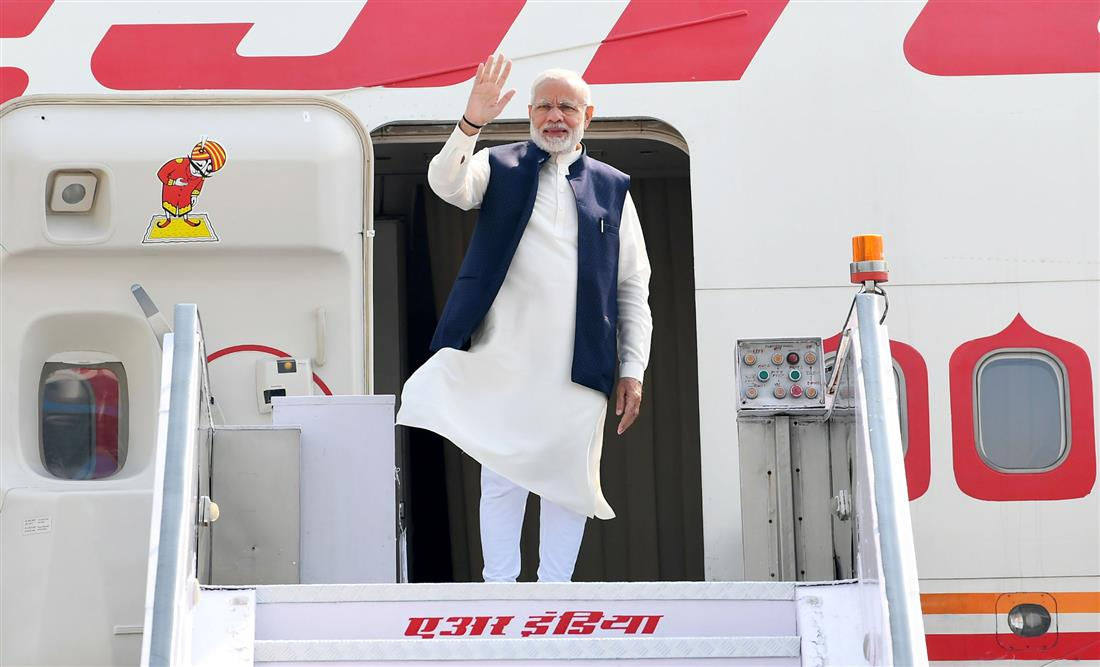 The Prime Minister, Shri Narendra Modi emplanes for Maldives to attend the historic swearing-in ceremony of President-elect, Mr. Ibrahim Mohamed Solih, on November 17, 2018.