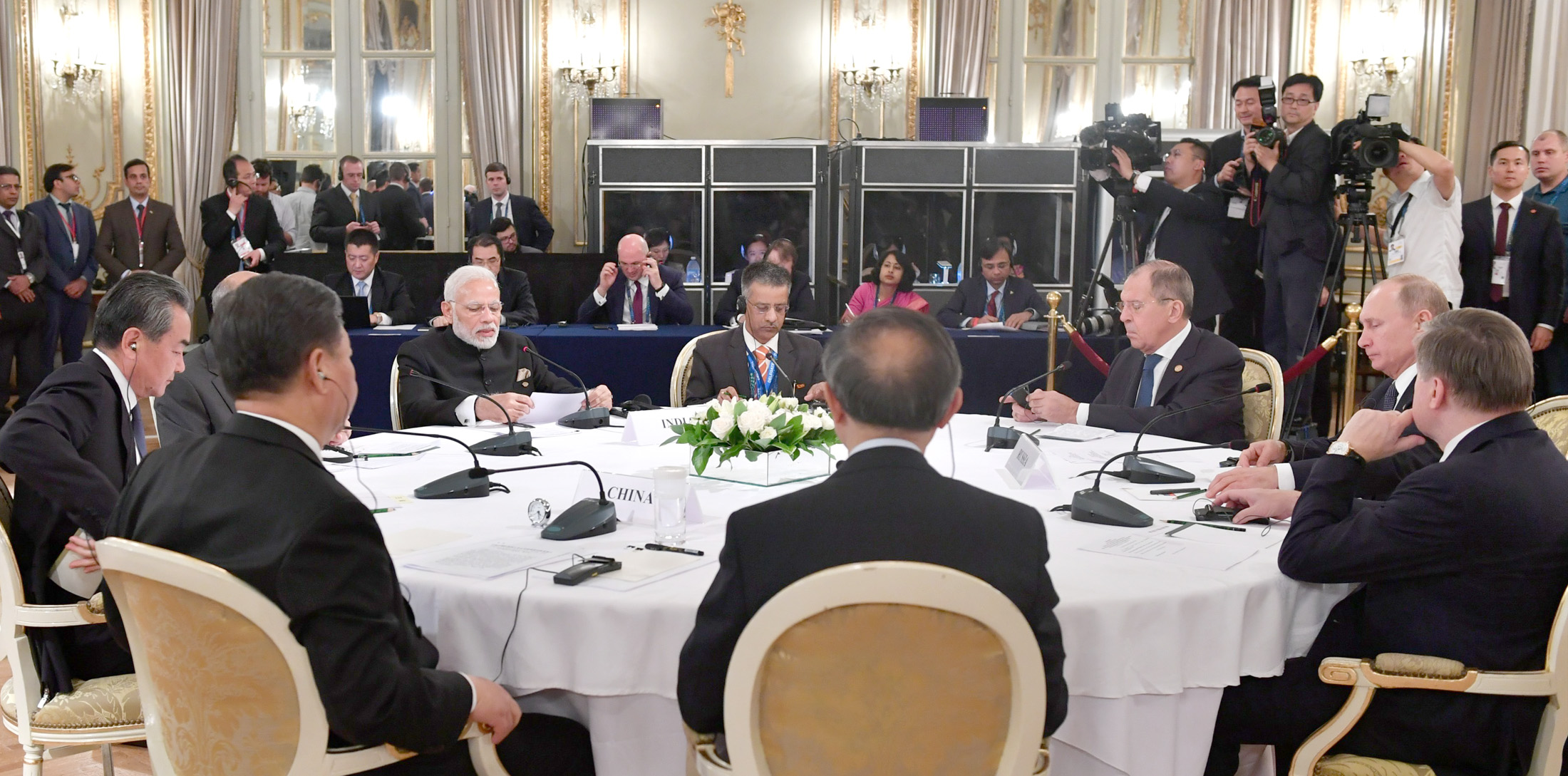 The Prime Minister, Shri Narendra Modi, the President of Russian Federation, Mr. Vladimir Putin and the President of the People's Republic of China, Mr. Xi Jinping at the RIC (Russia, India, China) Informal Summit, in Buenos Aires, Argentina on November 30, 2018.