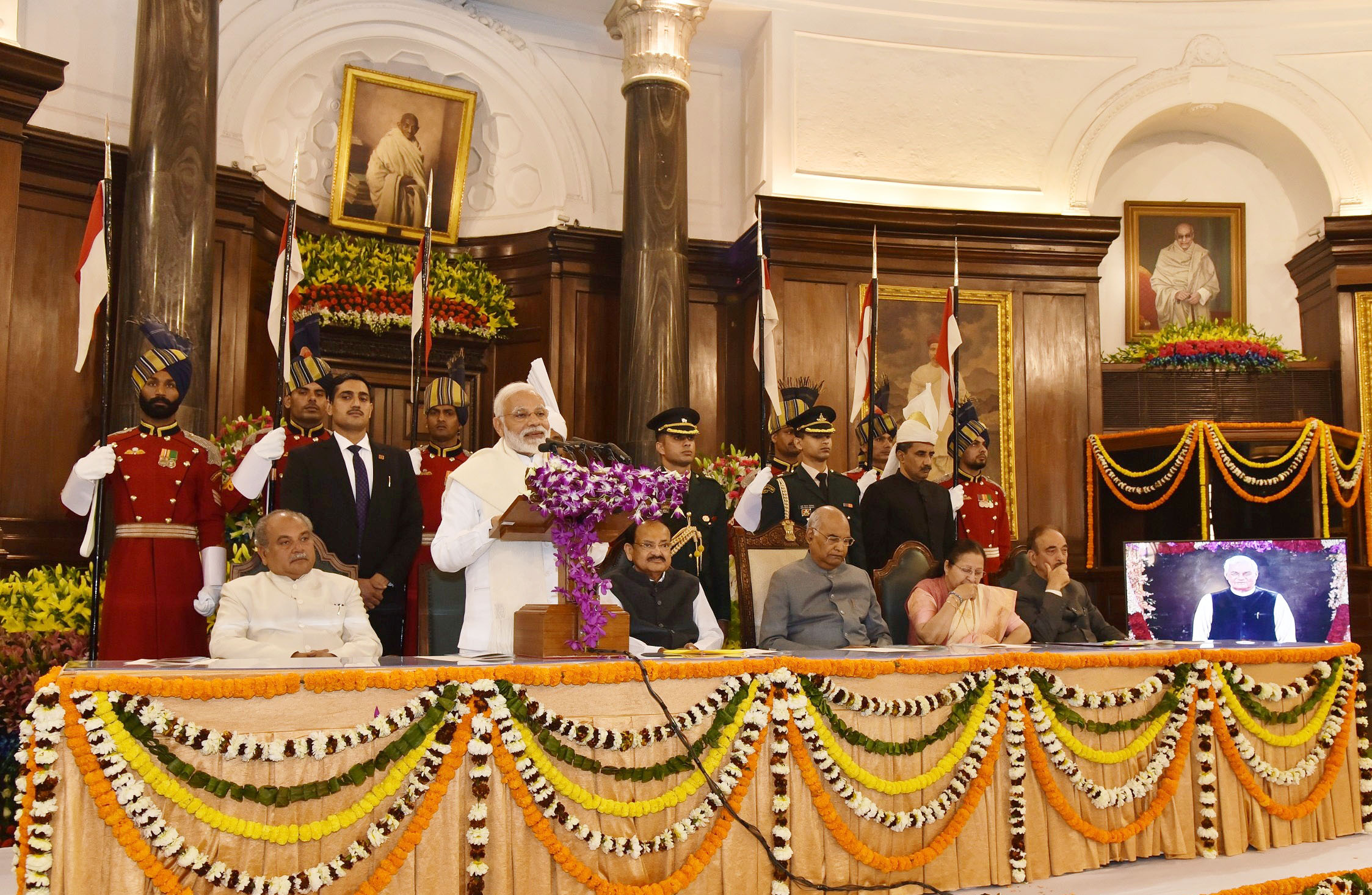 PM pays glowing tributes to former PM, Shri Atal Bihari Vajpayee jee on unveiling of his portrait in parliament