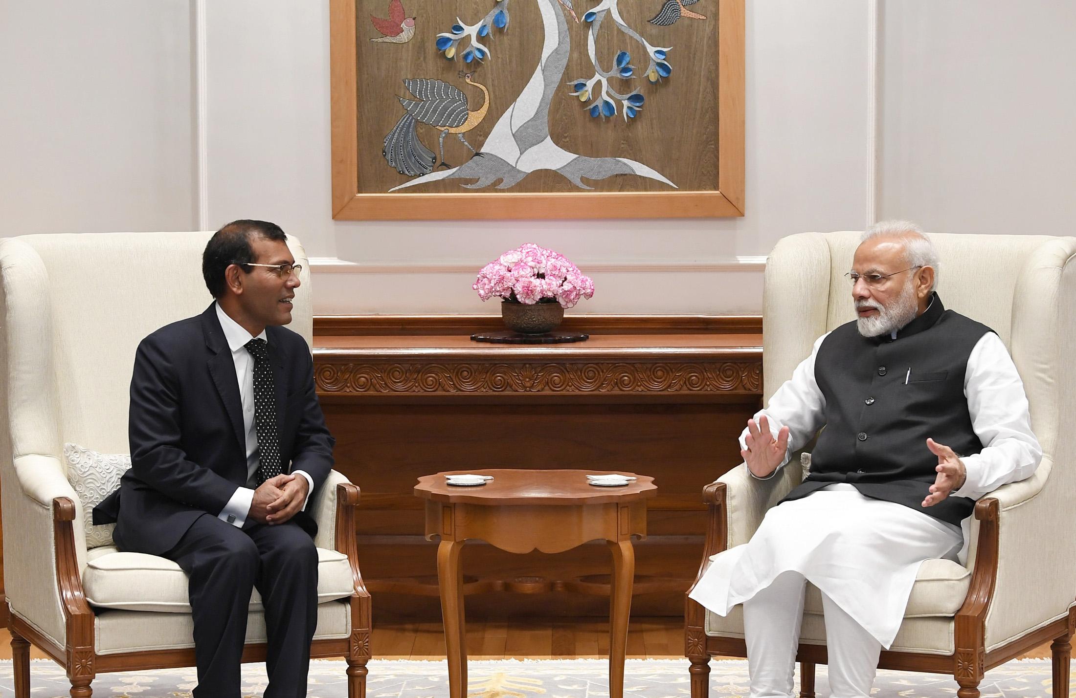 The former President of Maldives, Mohamed Nasheed meeting the Prime Minister, Shri Narendra Modi, in New Delhi on February 15, 2019.