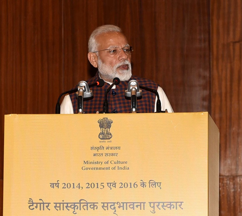 The Prime Minister, Shri Narendra Modi addressing at the presentation of the Tagore Award for Cultural Harmony for the years 2014, 2015 and 2016, in New Delhi on February 18, 2019.