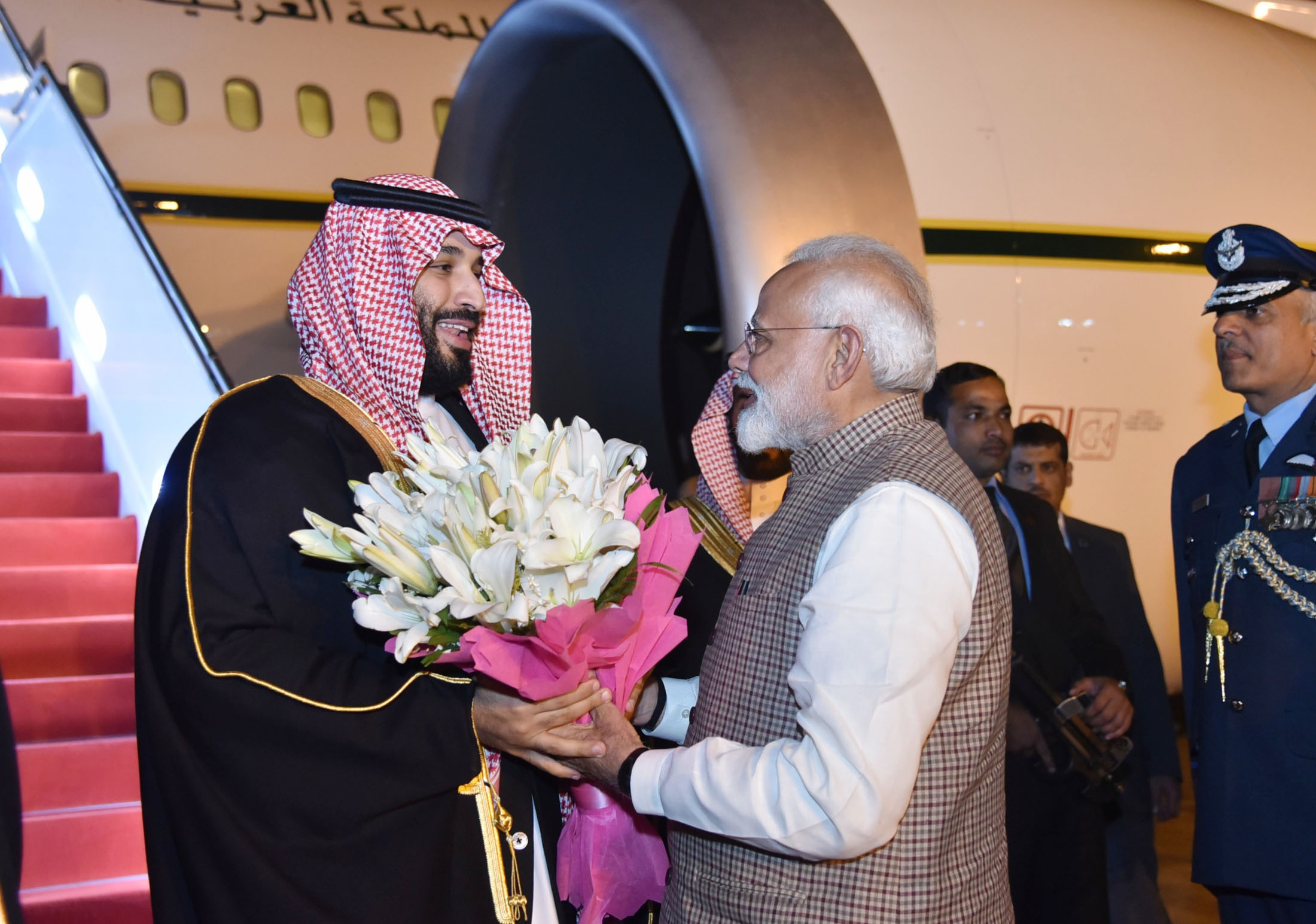 The Crown Prince, Vice President of the Council of Ministers of Defence of the Kingdom of Saudi Arabia, Prince Mohammed Bin Salman Bin Abdulaziz Al-Saud being received by the Prime Minister, Shri Narendra Modi, on his arrival, at New Delhi on February 19, 2019.