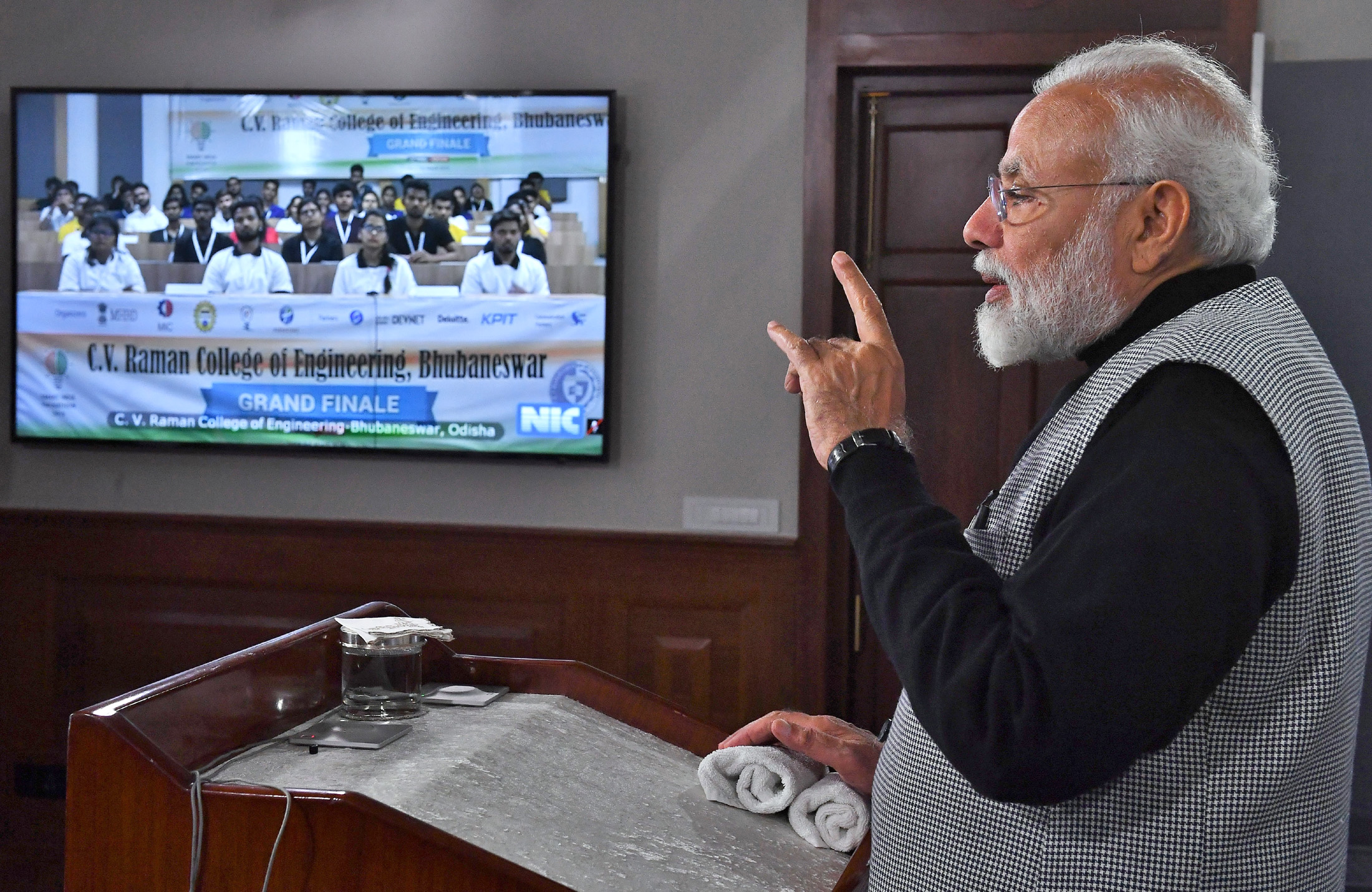 The Prime Minister, Shri Narendra Modi interacting with the students at the Grand Finale of the Smart India Hackathon, via Video Conference, in New Delhi on March 02, 2019.