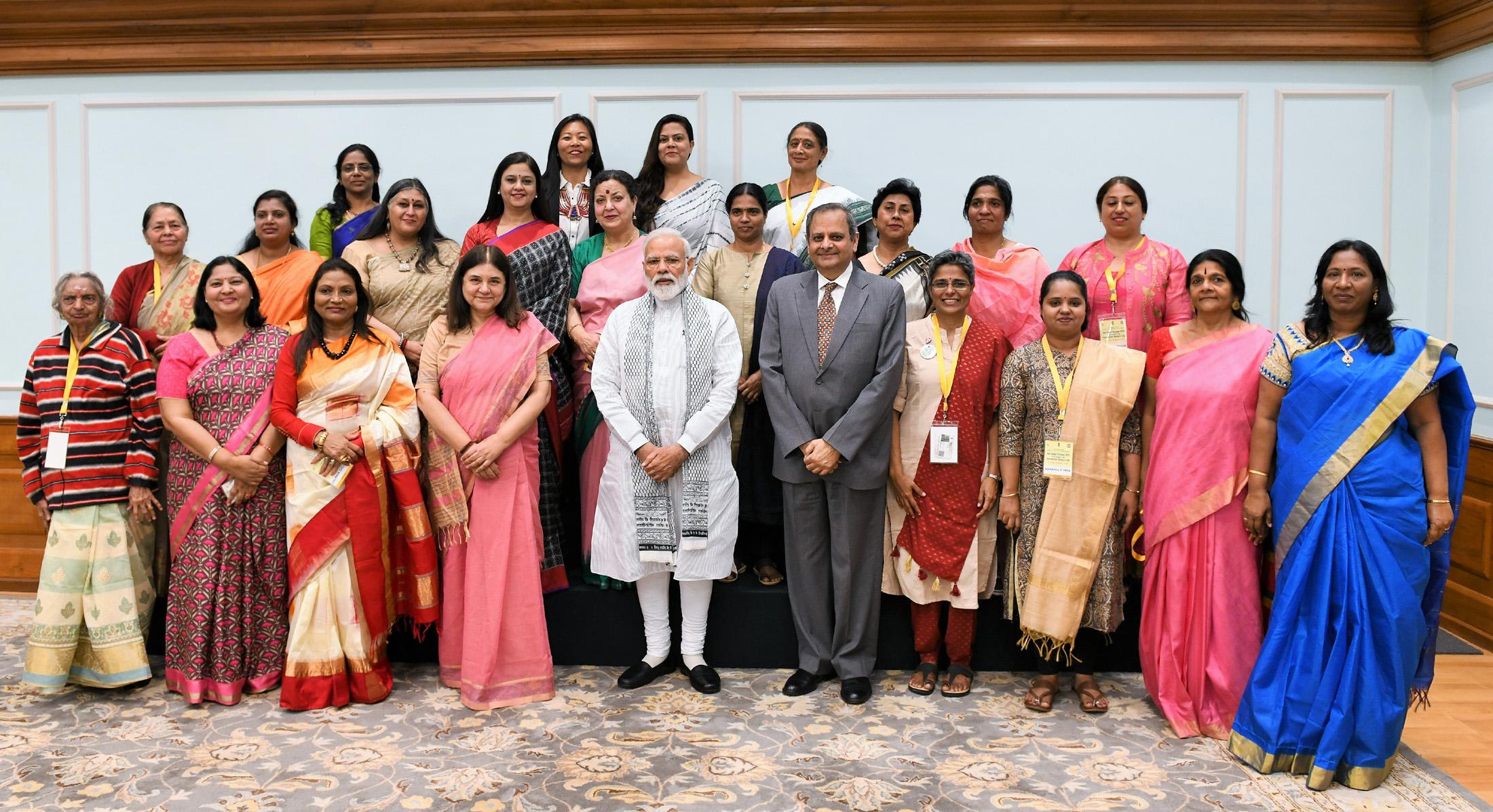 The Prime Minister, Shri Narendra Modi interacting with the recipients of the Nari Shakti Puraskar, in New Delhi on March 09, 2019.