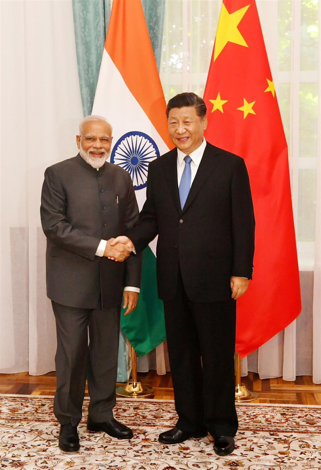 The Prime Minister, Shri Narendra Modi meeting the President of the People's Republic of China, Mr. Xi Jinping, on the sidelines of the SCO Summit, in Bishkek, Kyrgyz Republic on June 13, 2019.