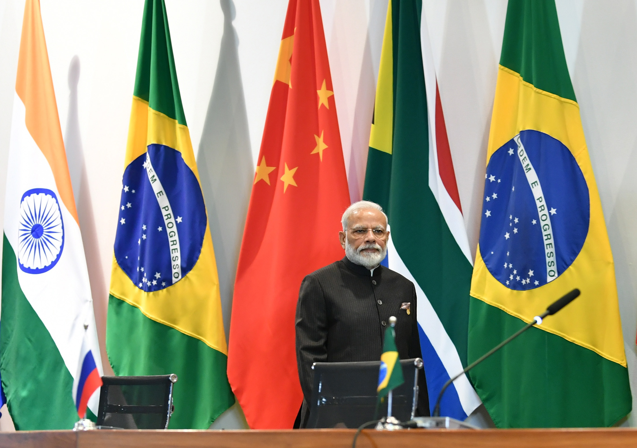 The Prime Minister, Shri Narendra Modi in the BRICS Family Photograph with other Leaders, during the 11th BRICS Summit, at the Itamaraty palace, in Brasilia, Brazil on November 14, 2019.
