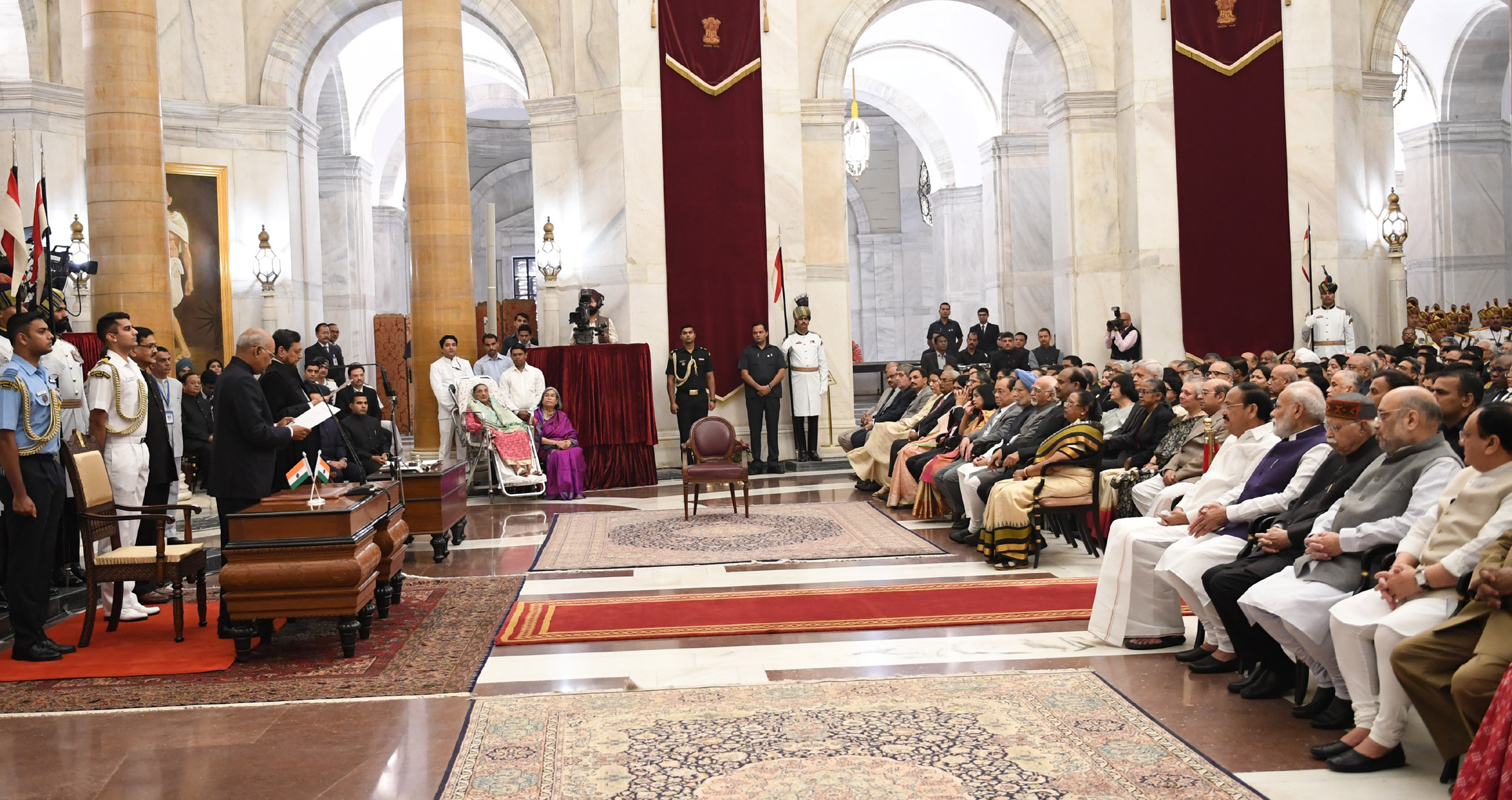 The Prime Minister, Shri Narendra Modi attending the Swearing-in-Ceremony of Justice Sharad Arvind Bobde as the Chief Justice of India, at Rashtrapati Bhavan, in New Delhi on November 18, 2019.