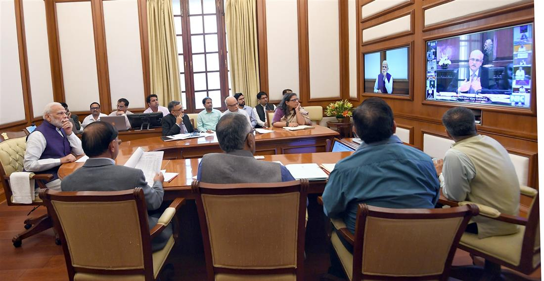 The Prime Minister, Shri Narendra Modi chairing the 31st interaction through PRAGATI - the ICT-based, multi-modal platform for Pro-Active Governance and Timely Implementation, in New Delhi on November 06, 2019.