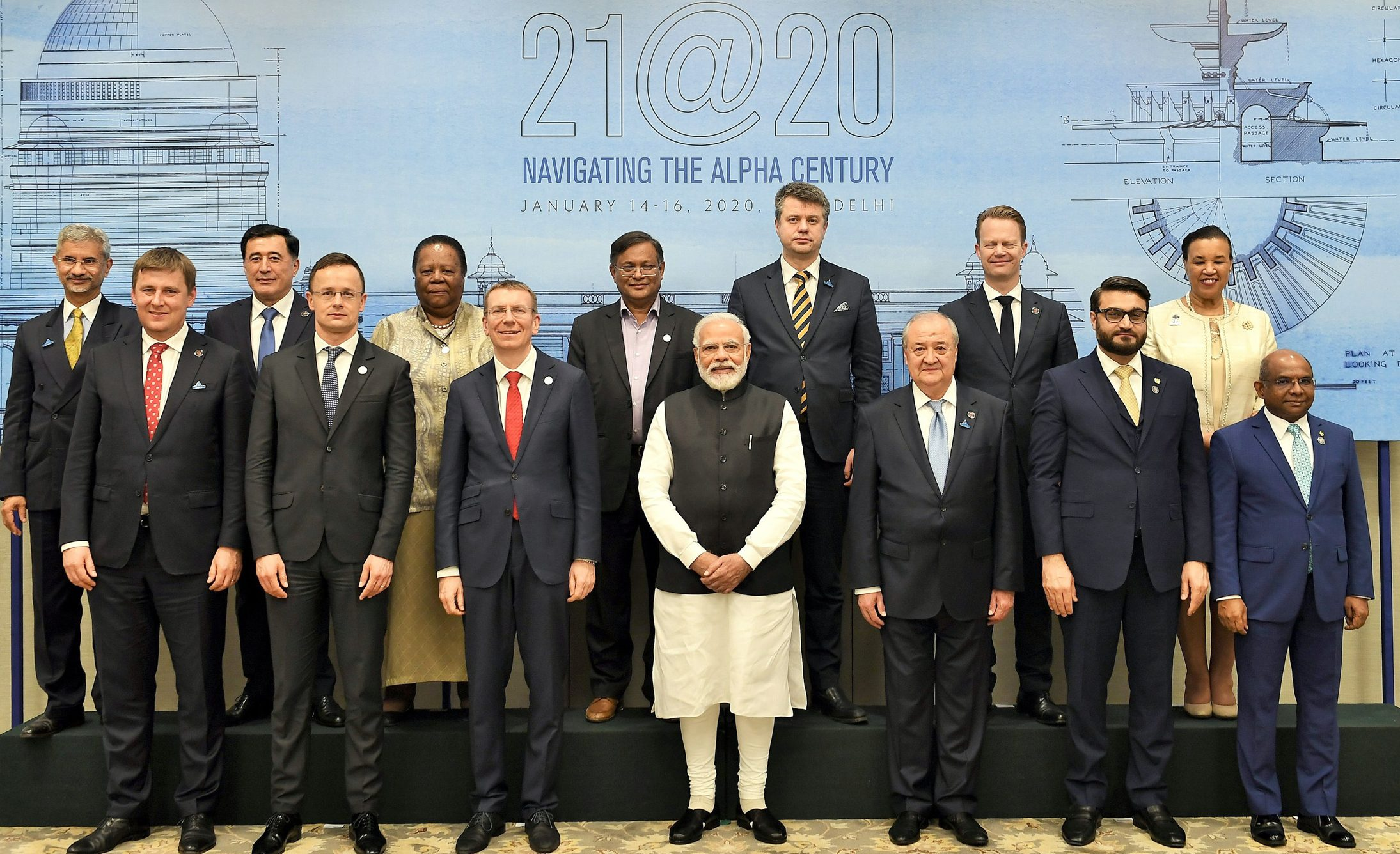 The Ministerial delegation from various countries, calling on the Prime Minister, Shri Narendra Modi, on the sidelines of the Raisina Dialogue 2020, in New Delhi on January 15, 2020.