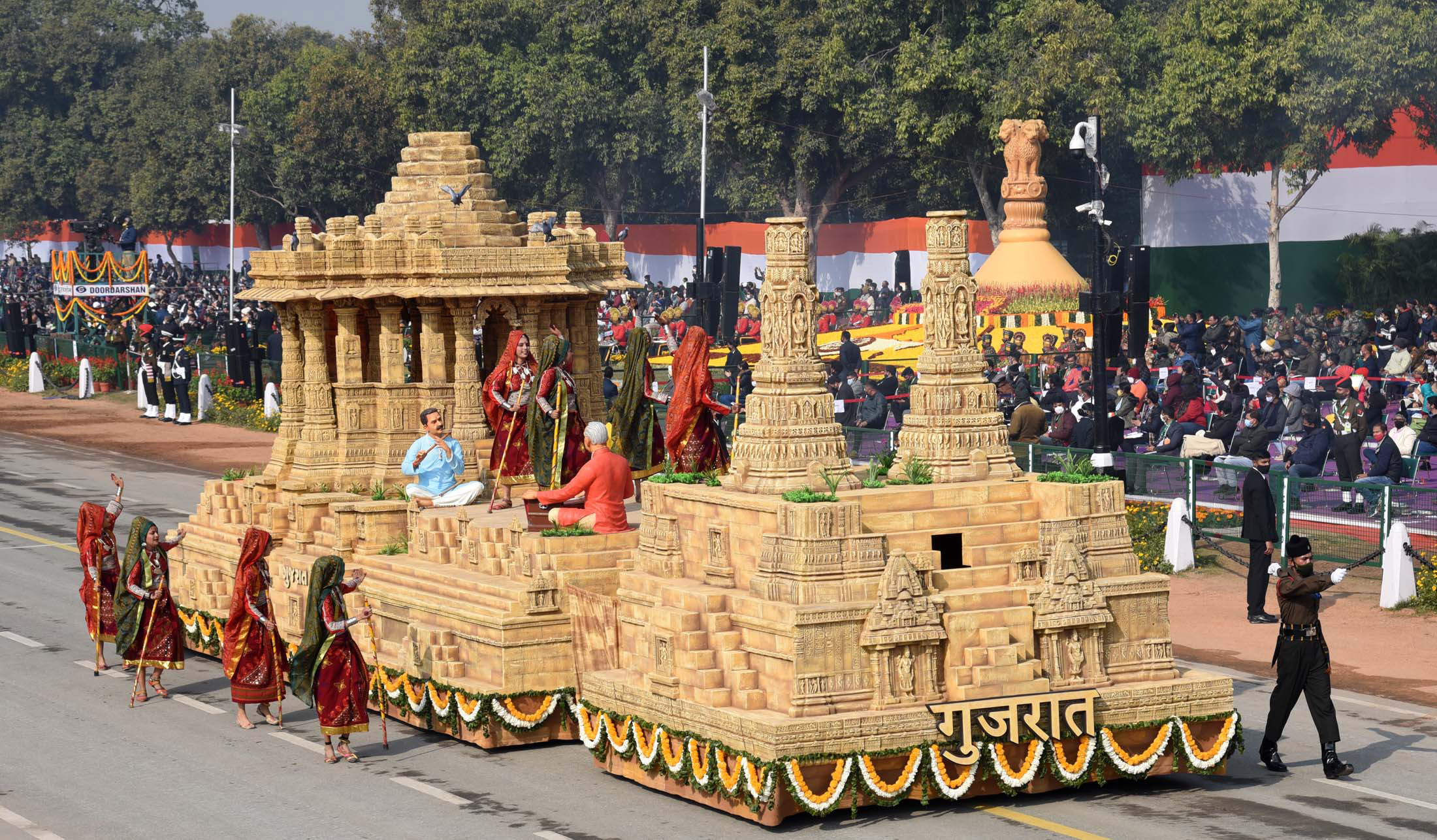 The Tableau of Gujarat passes through the Rajpath at the 72nd Republic Day Celebrations, in New Delhi on January 26, 2021.