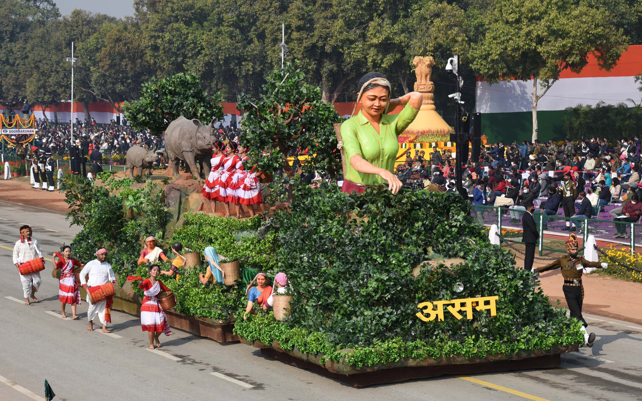 The Tableau of Assam passes through the Rajpath at the 72nd Republic Day Celebrations, in New Delhi on January 26, 2021.